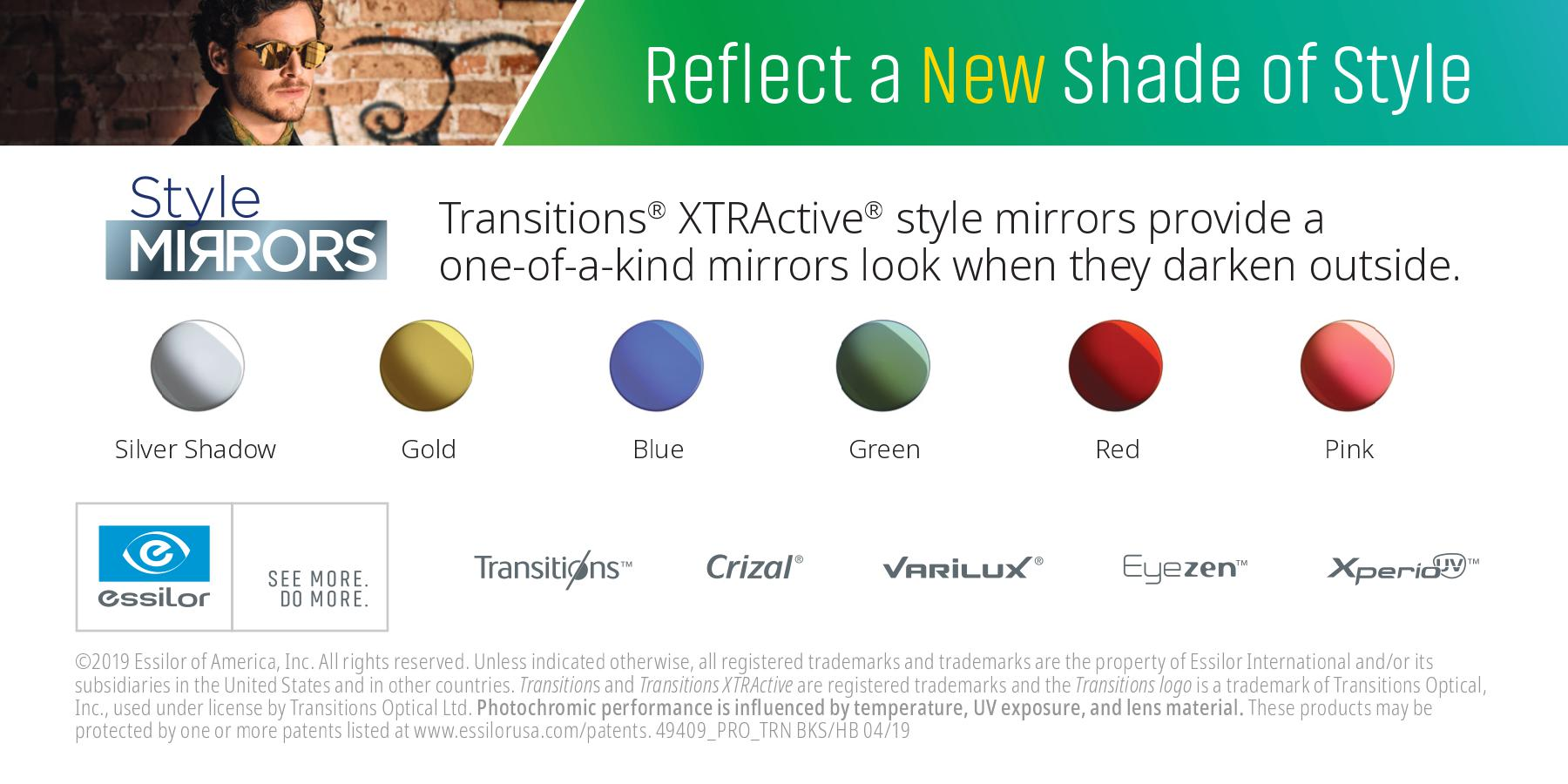 Transitions XTRActive Style Mirrors processed in-house at IcareLabs