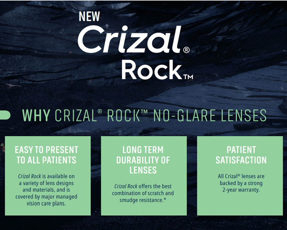 Crizal Rock selling points