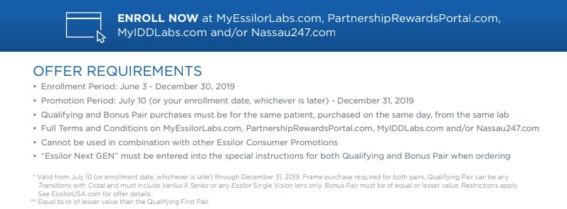Essilor Next Gen Offer Requirements