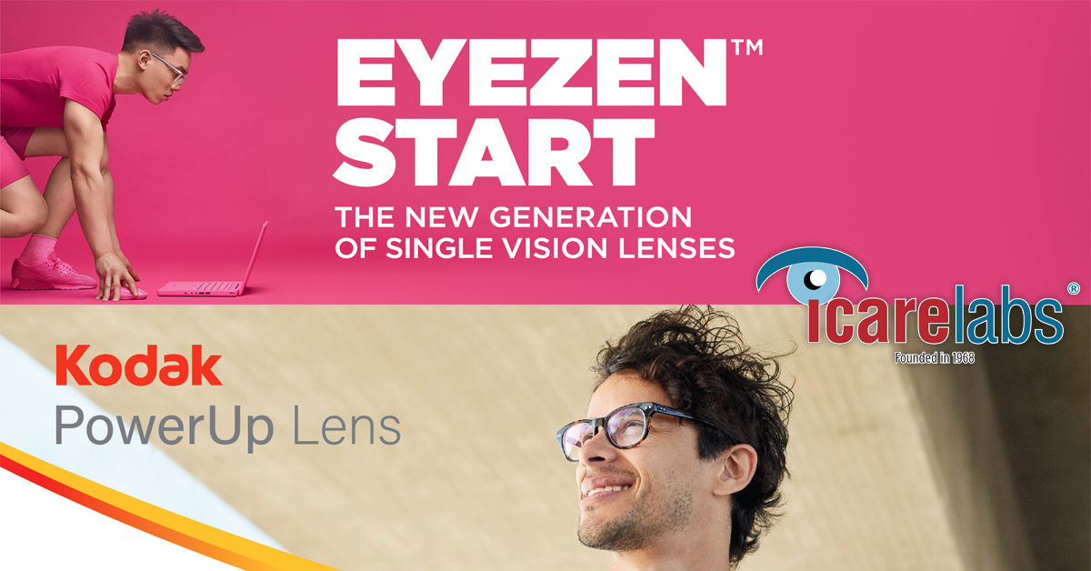 Eyezen Start and Kodak PowerUp Single Vision Lenses Processed By IcareLabs