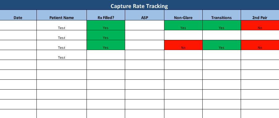 IcareLabs Capture Rate Tracking Spreadsheet Example
