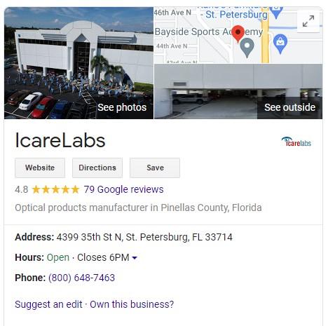 IcareLabs google contact card