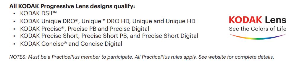 Kodak Lens Practice Plus Qualified PALs Double Down Promo