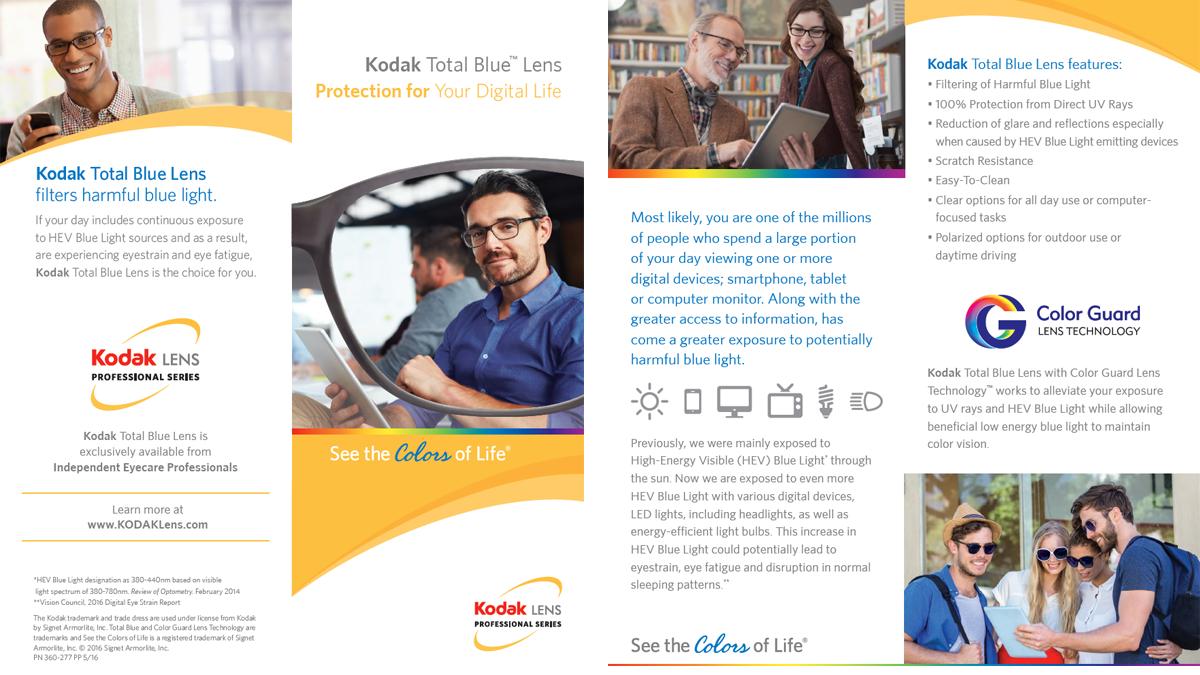 Kodak Total Blue Lens Brochure POP Example