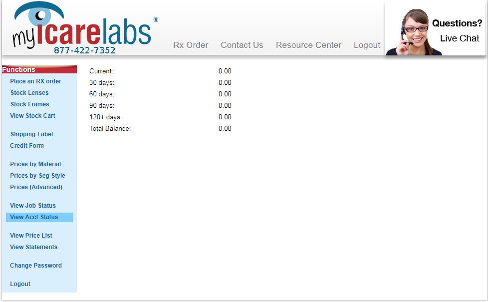 MyICL Account Status screen