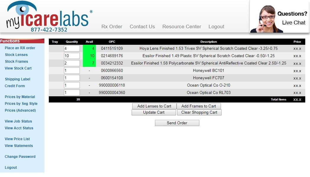 MyIcareLabs Stock Cart Order Screen