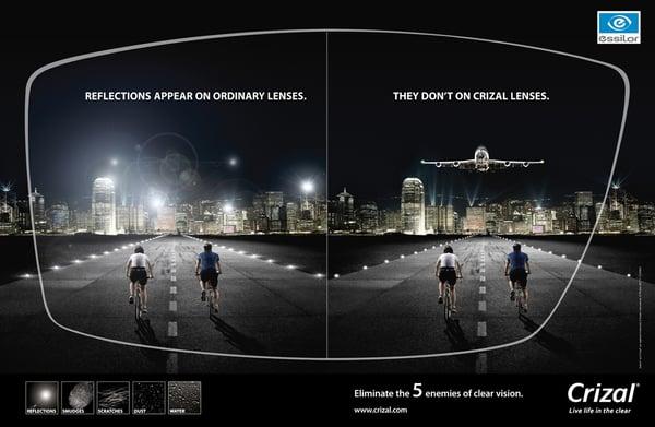 Crizal AR Reduces Glare