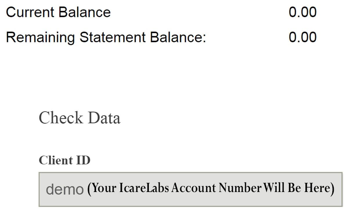 myIcareLabs eCheck Account Balance