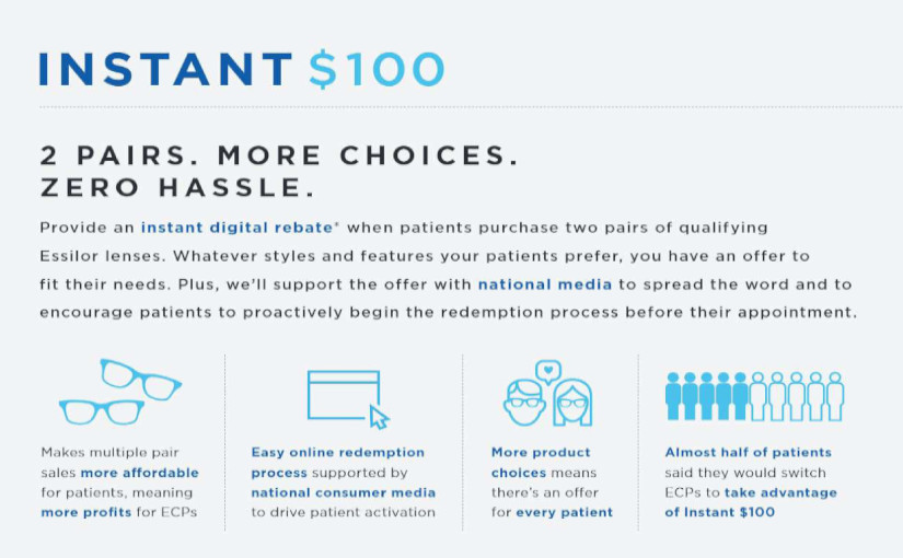 Essilor Instant $100 processed at IcareLabs